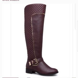 ShoeDazzle Maroon Amy Quilted Boots Size 8.5